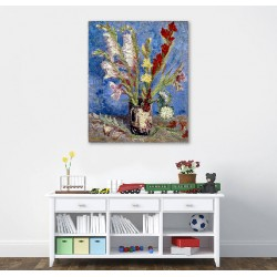 Vase with Gladiolus Flower Canvas