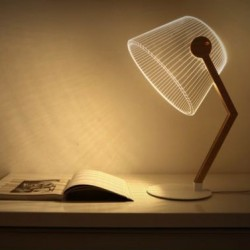 Acrylic Laser Cut Table Lamp Bend, W22 H42cm
