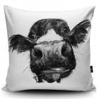 Black White Cow Illustration Cushion Cover