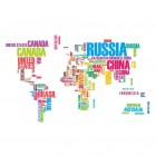 PVC World Map Lettering Wall Stickers