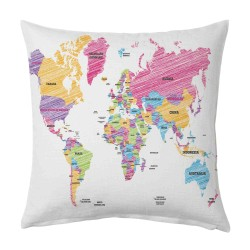 Striped World MAP Cushion Cover