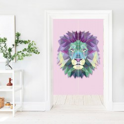 Geometric Shapes Lion Japanese Curtain