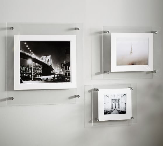 WALL HANGING CLEAR ACRYLIC PICTURE FRAMES WITH SILVER STUDS